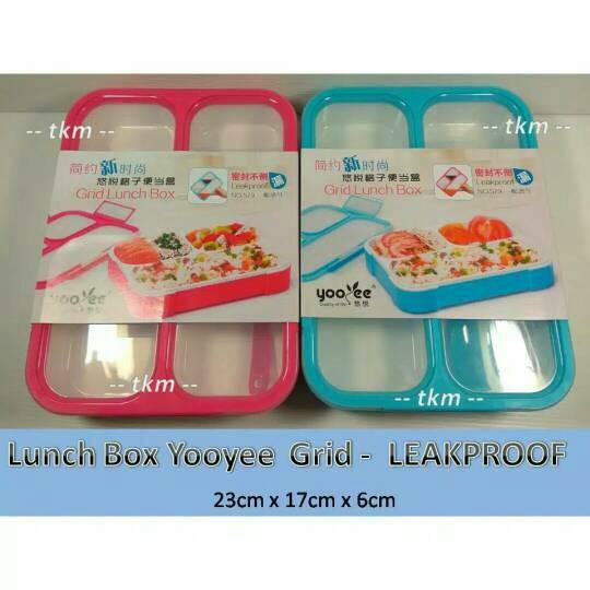 Yooyee kotak makan grid bento lunch box anti tumpah/bocor