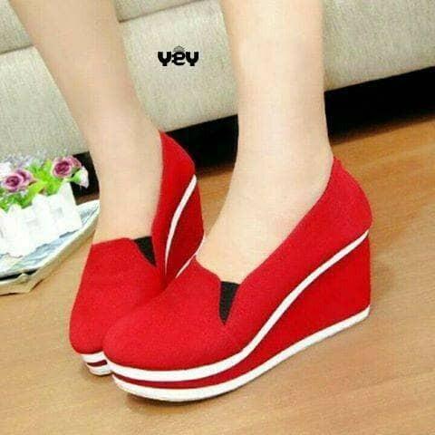 harga Wedges sandal sepatu cewek merah Tokopedia.com