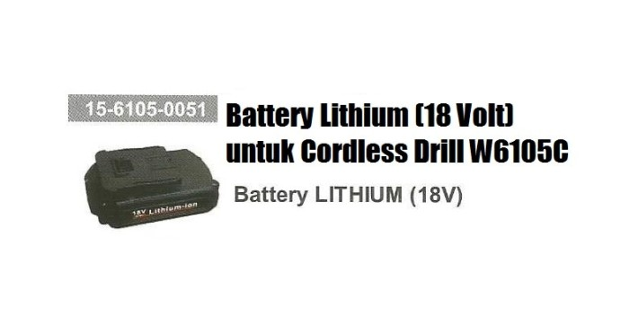 harga Spare part battery lithium  cordless drill wipro w6105c Tokopedia.com