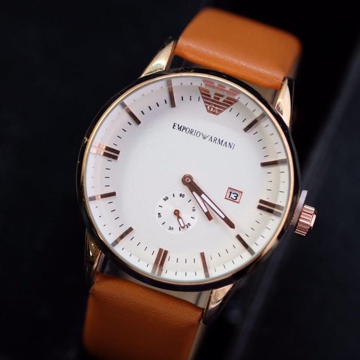 ... harga Jam tangan pria wanita emporio armani date leather strap  Tokopedia.com b2458507a3