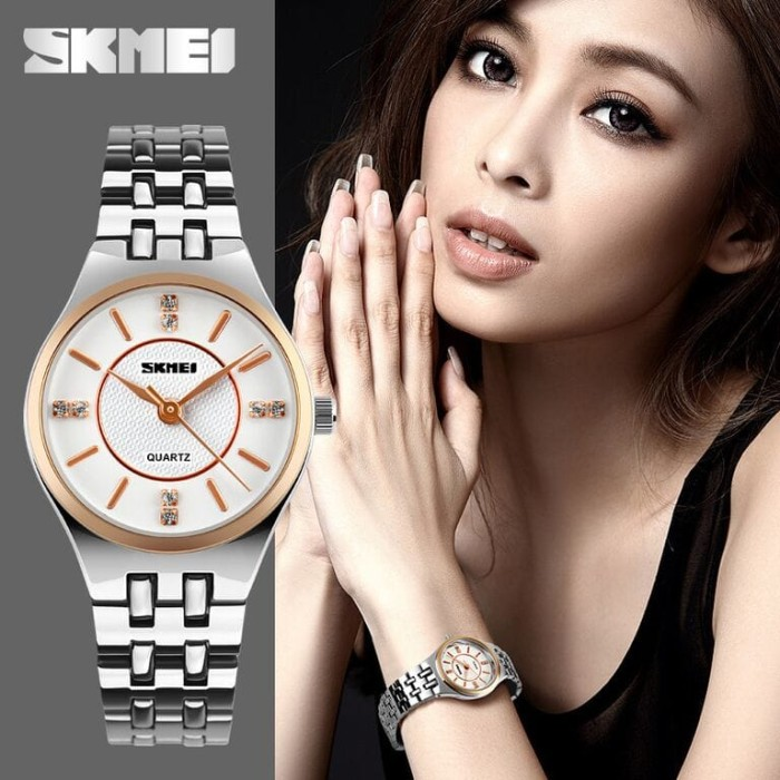 Jam Tangan Wanita Stainless Steel Skmei Casual Watch Water Resistant - Emas