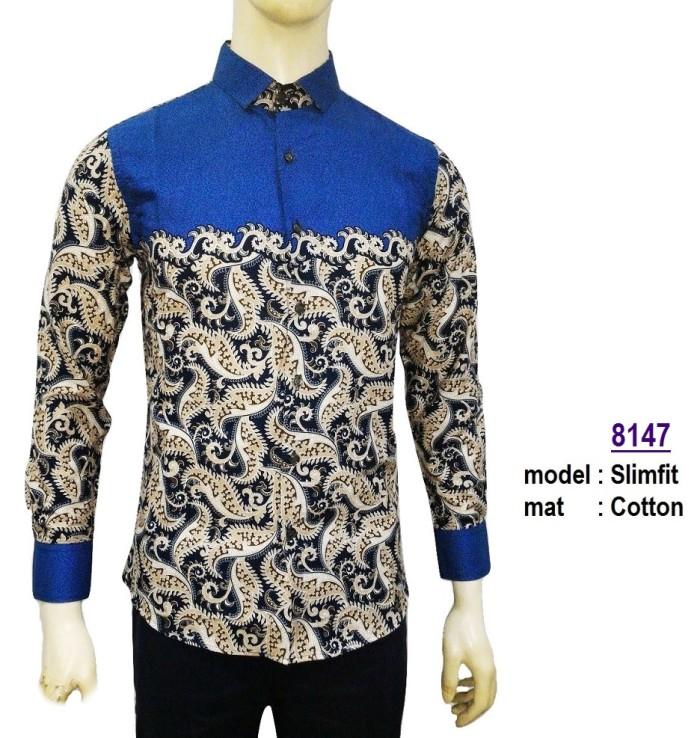 Harga Baju Kemeja Batik Slimfit 8147 Fashion Pria Kaos Jeans Jas