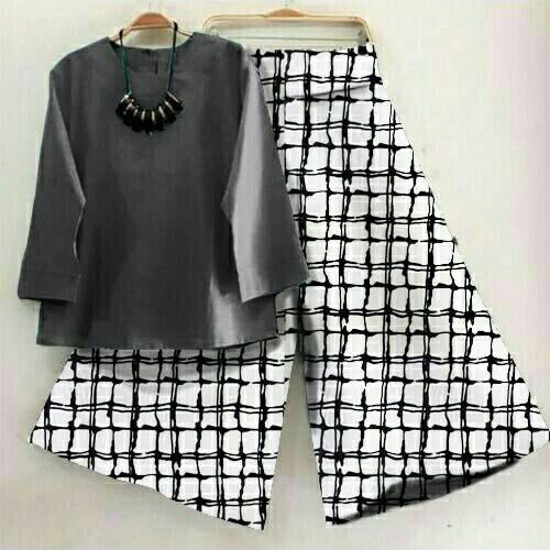 Set Kulot Kotak/Celana Kulot Murah/Setelan Baju Wanita/Setelan Kulot