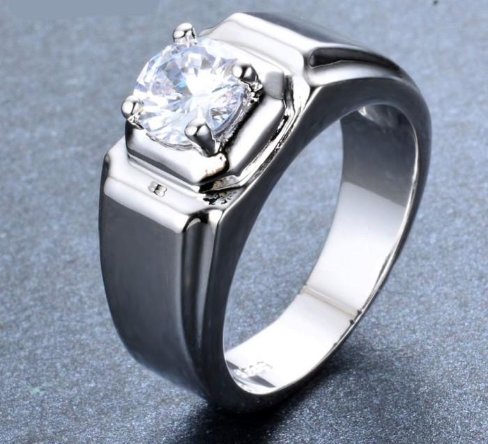 harga Cincin pria  white  crystal zircon  perak 925 filled Tokopedia.com