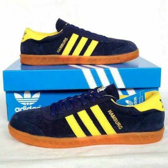 Jual Sepatu Adidas Hamburg Biru Kuning Navy Yellow Sneakers Pria ... 4711f336d2
