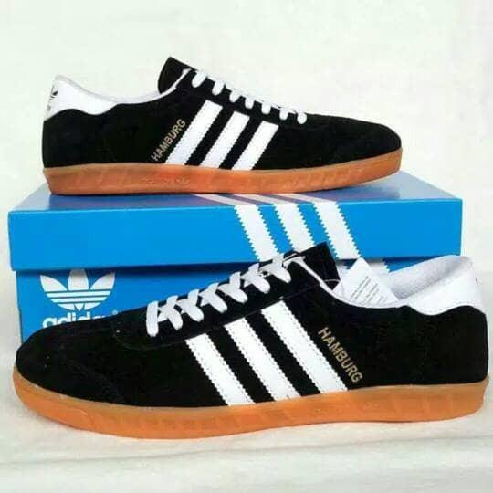 Jual Sepatu Adidas Hamburg Hitam Putih Black White Sneakers Pria