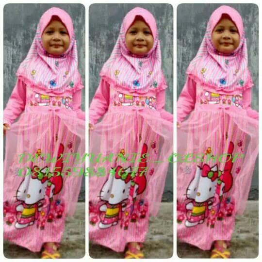 Baju Muslim Hello Kitty Anak 3