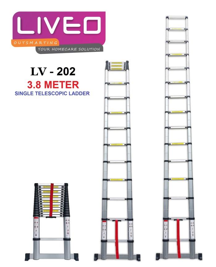 harga Promo tangga 3.8 meter aluminium teleskopik single liveo bukan dalton Tokopedia.com