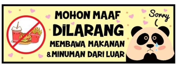 Jual Dilarang Membawa Makanan Minuman Kota Surabaya Zero