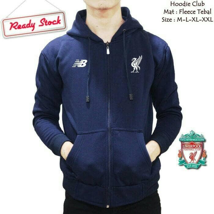 harga Jaket hoodie zipper bola liverpool ( biru dongker ) Tokopedia.com