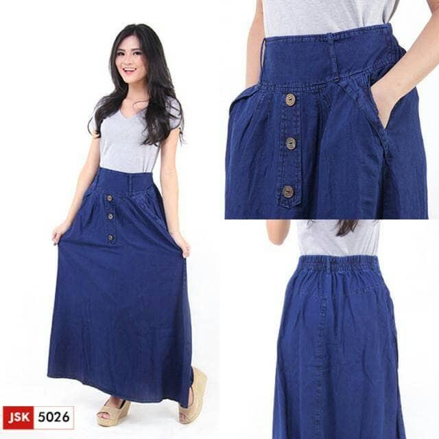 harga Rok panjang jeans wanita denim muslim jsk jeans 4 variant Tokopedia.com