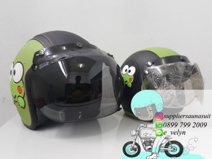 Helm Bogo Karakter Keropi Couple / Green / Retro 1