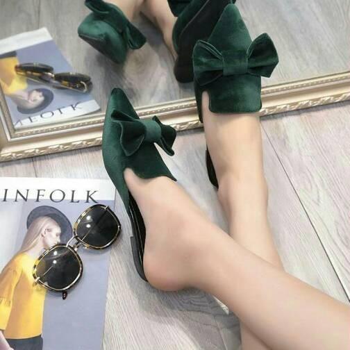 harga Sepatu wanita flatshoes selop pita cantik hijau Tokopedia.com