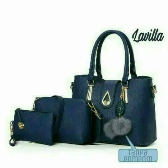 paket tas handbag wanita 3in1 pink/navy/hitam/merah kantor murah