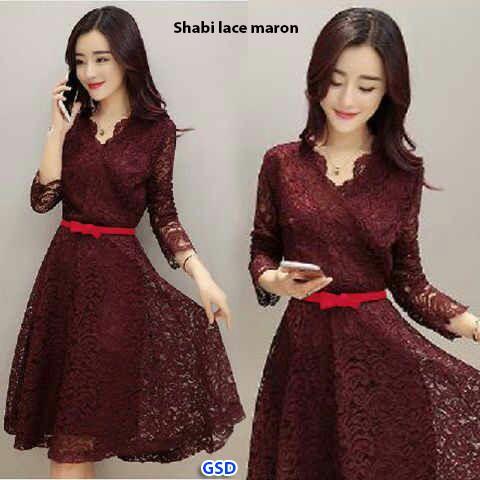 harga Shabi lace marun/terusan dress brukat wanita/mini dress/long dress Tokopedia.com