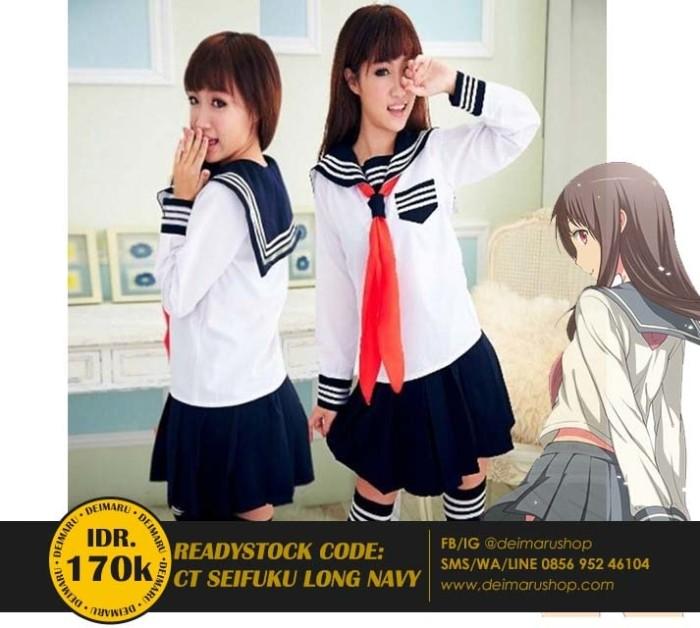 Jual Ct Seifuku Long Navy Kostum Sekolah Kuliah Jepang Cosplay