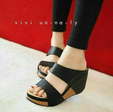 harga Jr03 hitam sendal sandal slop wedges fashion wanita keren murah cantik Tokopedia.com