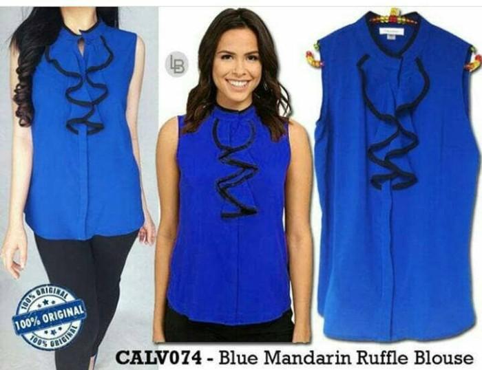harga Baju branded murah calvin klein blue mandarin ruffle blouse ori prem Tokopedia .