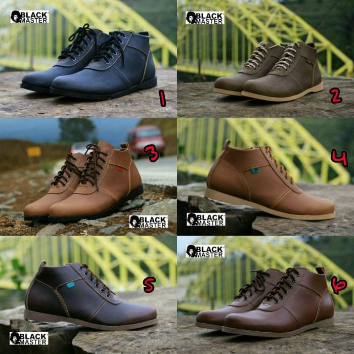 harga Sepatu boots casual pria black master model brodo semi kulit bagus for Tokopedia.com