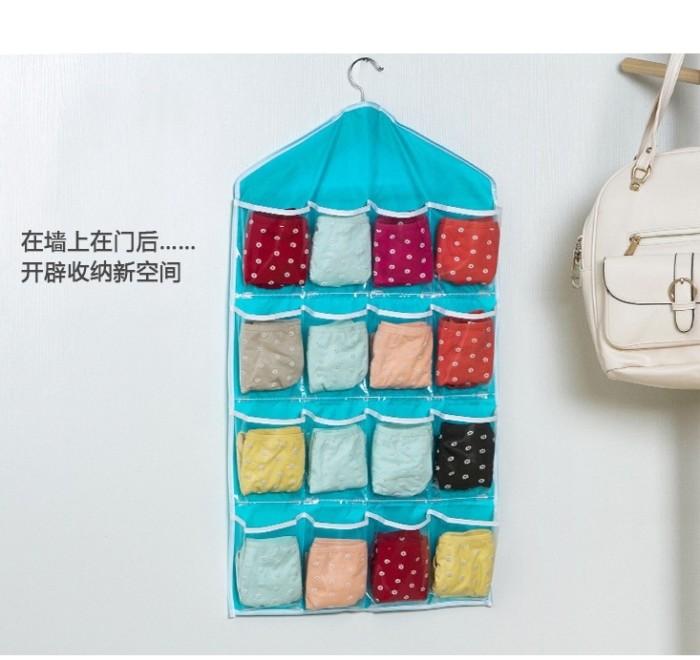 Foto Produk Kantung Gantung Storage Bag Hanger Organizer 16 slot sekat transparan dari OutletRyan