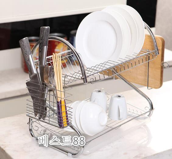 Jual Rak Piring Gelas Stainless Steel Kitchen Set Elegan 2 Tingkat