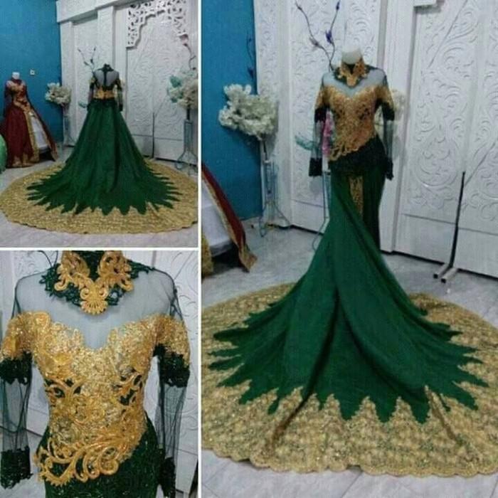 harga Gaun pengantin mewah ekor panjang model semi kebaya Tokopedia.com