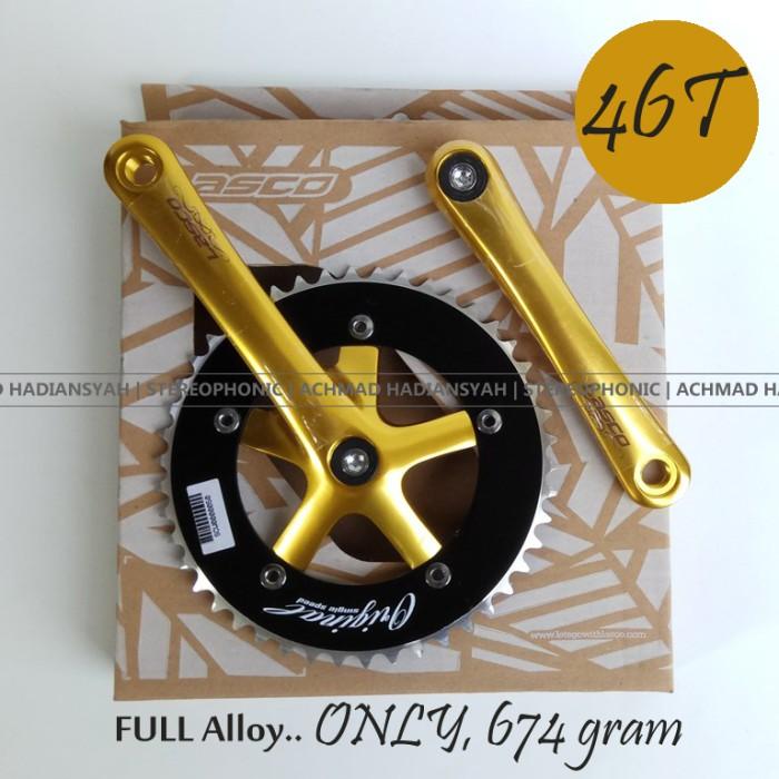 harga Single speed crank lasco gold black 46t - crank seli - crank fixie Tokopedia.com