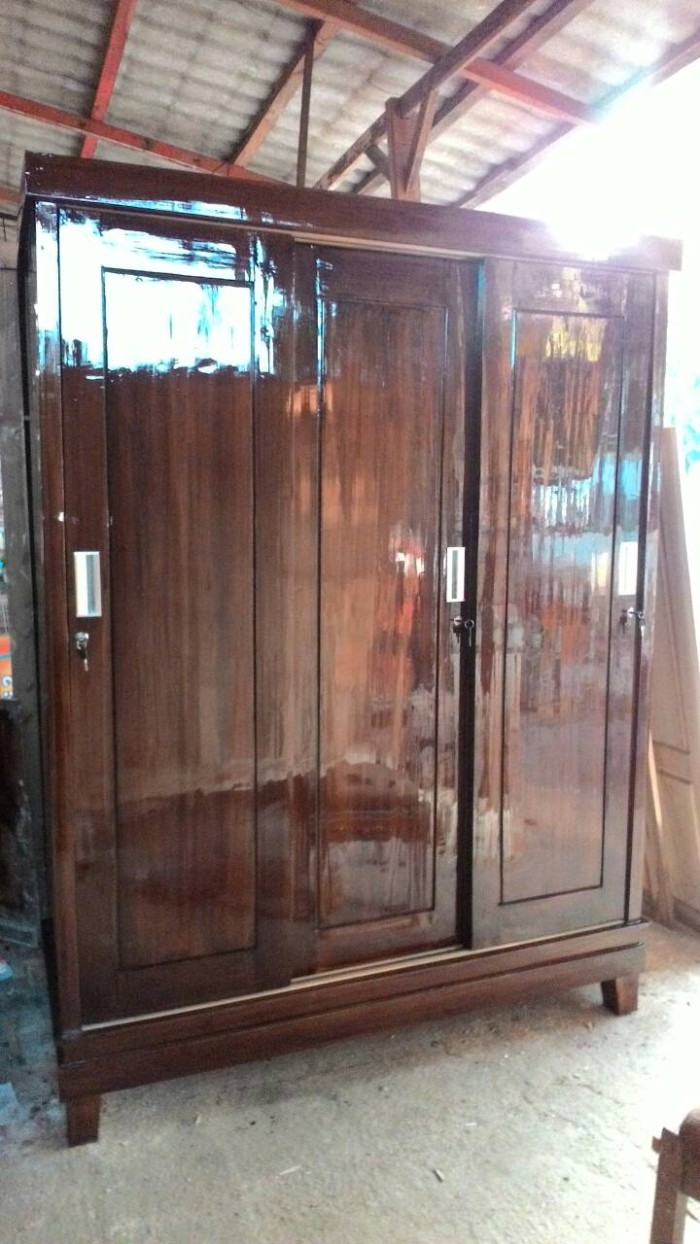 Jual Lemari Pintu 3 Sliding Door Jati Lemari Pakaian Pintu Geser Jakarta Timur Hidayat Furnitur