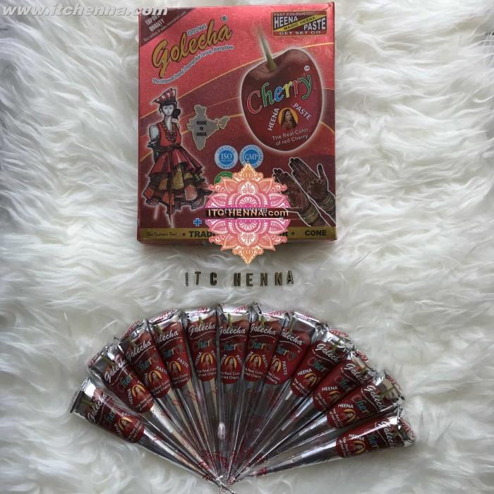 Lucky Instant Heena Paste Cherry Heena Paste Heena Tangan Tato Source · Golecha Henna Cone Mirchi Maron 1box 12pcs. Source · Golecha Cherry Henna Cone (1 ...