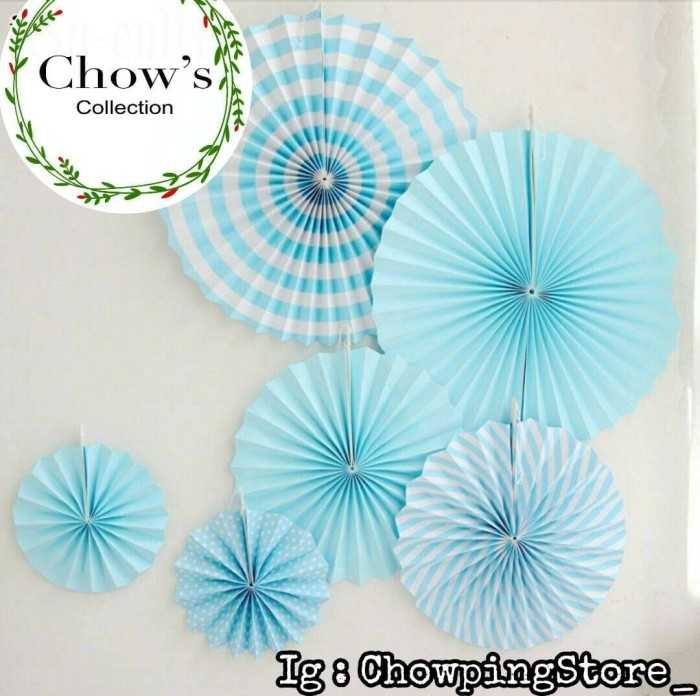 harga Paperfan / Paper Fan Black Set / Paper Flower Biru Set 6 In 1 Tokopedia.com