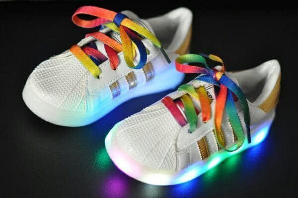 harga Sepatu anak lampu led adidas rainbow size 26-30 Tokopedia.com