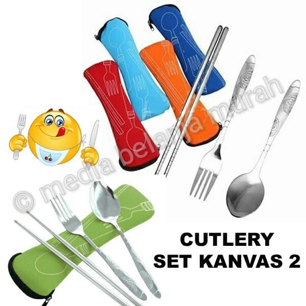 harga cutlery set tas kanvas 2 - sendok garpu sumpit travelling unik Tokopedia.com