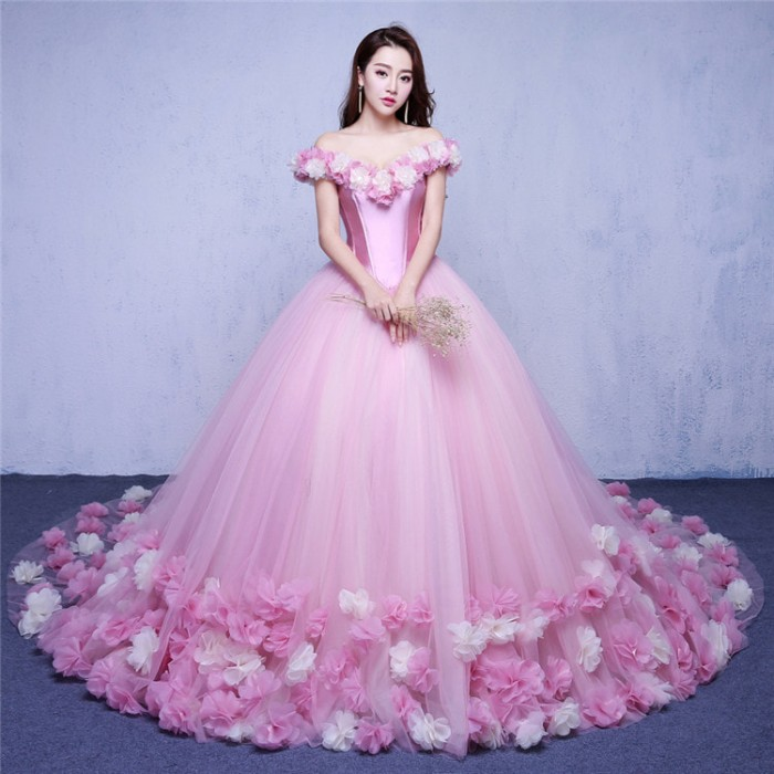 Jual 1707045 Pink Sabrina Ekor Gaun Pengantin Wedding Gown Dress