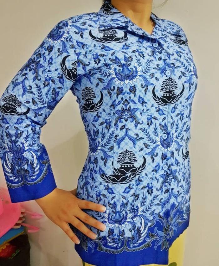 Model Kemeja Batik Wanita Bahan Katun: Jual Seragam Kemeja Blus Katun Wanita Batik KORPRI PGRI