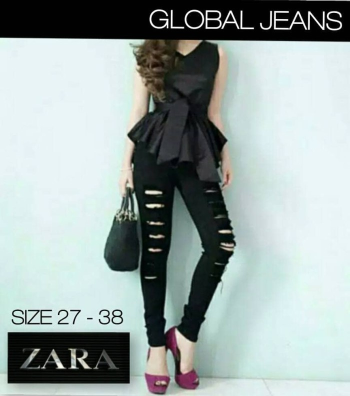 harga Celana jeans jumbo zara black destroyed / hitam sobek rawis Tokopedia.com
