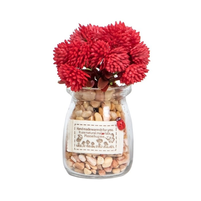 harga Yu merah   tanaman sintetis bunga palsu pot kaca hiasan pajangan meja Tokopedia.com