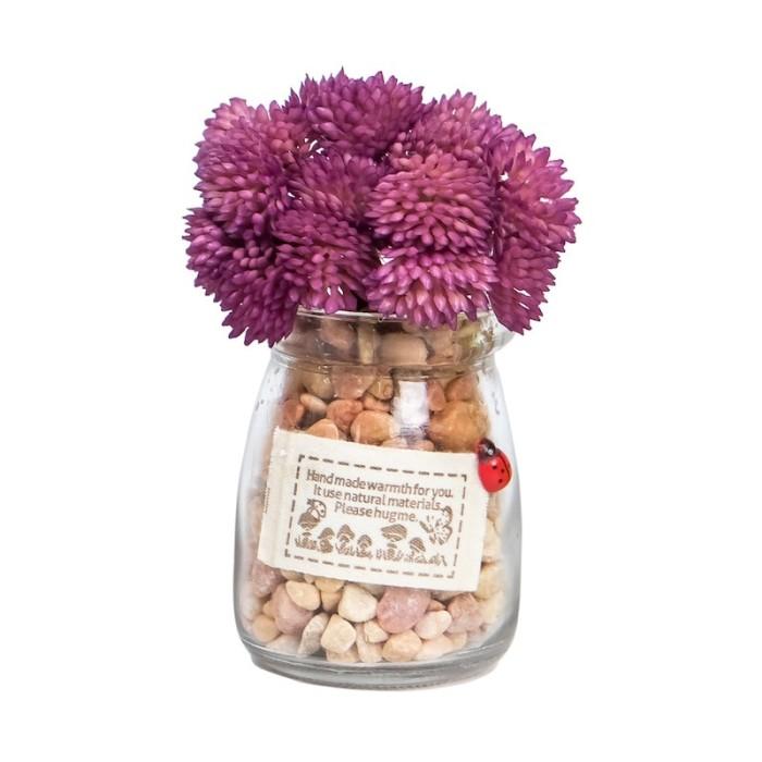 harga Yu ungu | tanaman sintetis bunga palsu pot kaca hiasan pajangan meja Tokopedia.com