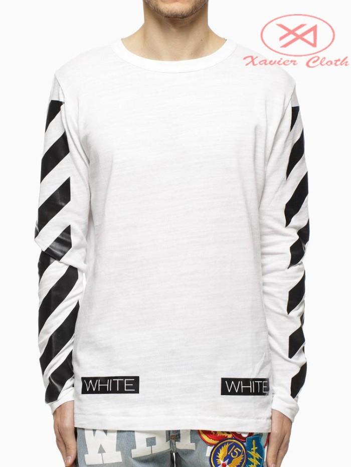 harga Premium t-shirt baju kaos lengan panjang 2 - off white justin bieber Tokopedia