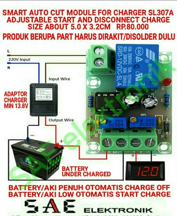 harga Sl307a smart auto cut module for smart batt charger aki adjustable Tokopedia.com