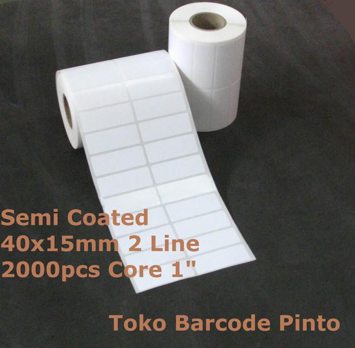 harga 40x15mm 2line 2000pcs gap core 1  semi coated label sticker barcode Tokopedia.com