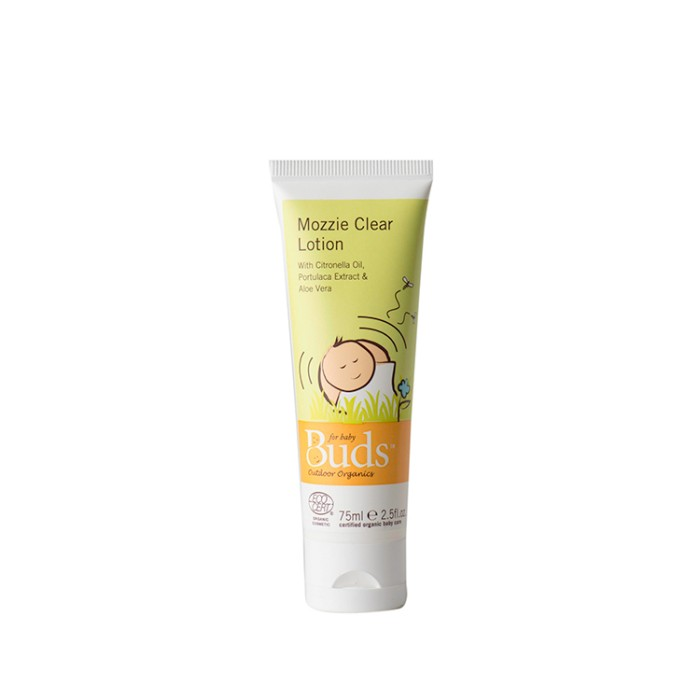 Buds organics mozzie clear lotion 75ml atau krim anti nyamuk bayi