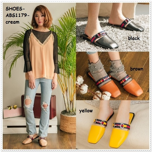 Sepatu sandal mule selop slip on flat shoes heels wanita korea import