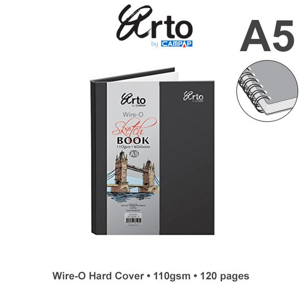 harga Sketch book arto a5 wire-o hard cover 110gsm Tokopedia.com