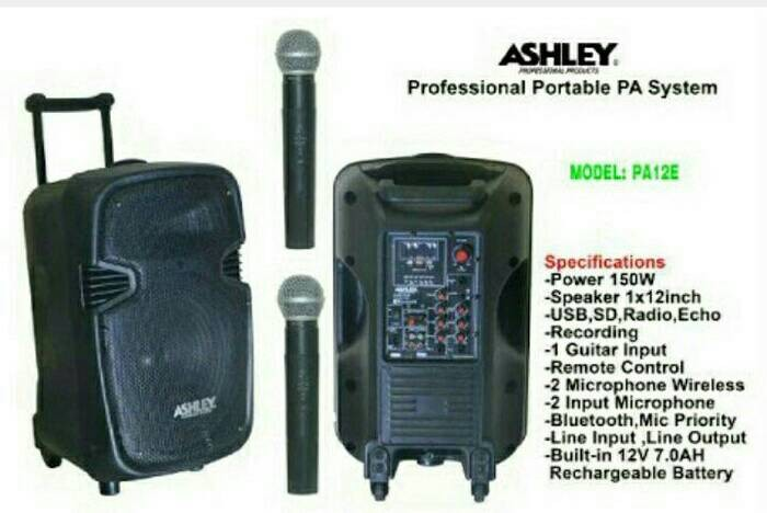 harga Speaker portable amplifier wireless ashley pa 12 e ( 12 inch ) Tokopedia.com