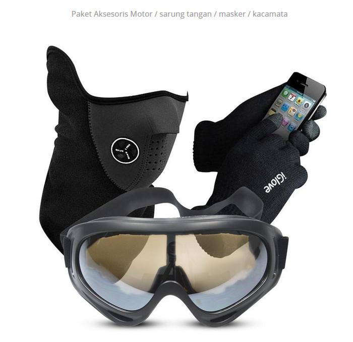 harga Paket aksesoris motor / sarung tangan / masker / kacamata Tokopedia.com