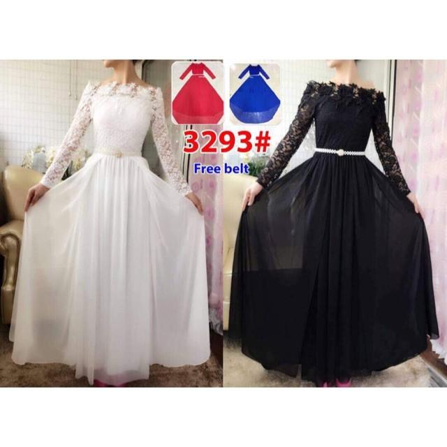 harga Long dress ekor 3293/ baju pesta/baju muslim/ baju brokat impor Tokopedia.com