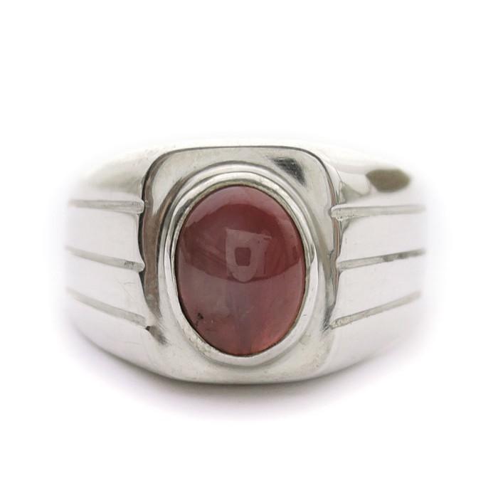 Jual Cincin Perak Ukir Oxidized Batu Ruby Cincin Pria Batu Ruby