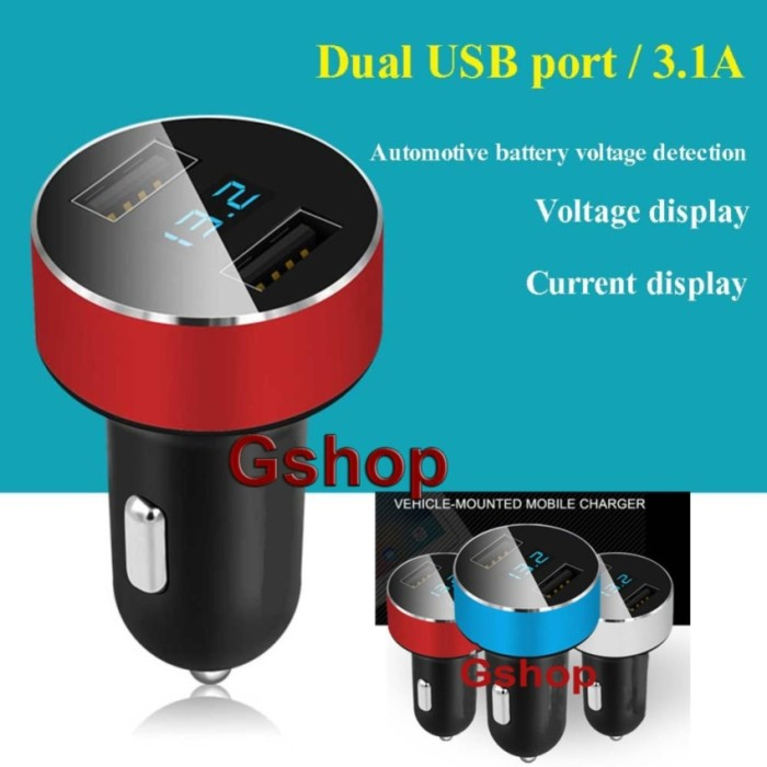 harga Gshop 3.1a dual usb fast car charger hy-36 with voltmeter monitor Tokopedia.com