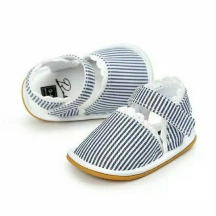 harga Sepatu walker anak perempuan import sandal biru blue stripe elegan Tokopedia.com