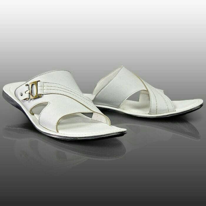 harga Sandal pria kulit casual - sandal putih gol - sandal murah awet Tokopedia.com